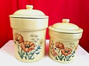 Treasure Craft Vintage Rare Wildflower Poppies Yellow Canister Jar Set Of 2