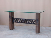 60 L Console Table Solid Glass Top Hand Crafted Hardwood Legs Vintage Iron Base