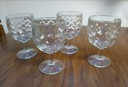 4 Vintage 1950and039s Heavy Thick Clear Textured Glass Thumbprint Goblets Bartlett Co