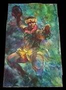 1994 Hawaii Wc And Pencil Painting Hypnotic Male Hula Dancer By Brian Ibaanblo