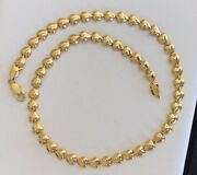 Gorgeous Hearts 18ky Gold Chain/neckless Made In Italy Strong Lobster Clasp
