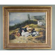 Stunning European Oil On Canvas Animal Landscape Painting With Brood Of Chickens