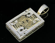 Men 10k Yellow Gold With Cubic Zirconia King Card Poker Pendant Charm 2/3ct 1.6