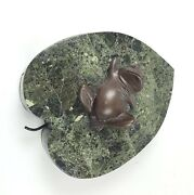 Maitland-smith Tessellated Elegant Marble And Bronze Frog Jewelry Box
