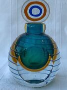 Mid Century Murano Sommerso Glass Perfume Bottle And Topper
