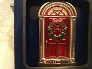 First Christmas In Our New Home Red Door W/wreath And European Crystal Ornament