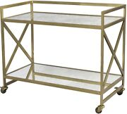 36 L Donnino Bar Cart Console Table Glass Shelves Antique Finished Iron Frame