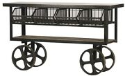 61 L Console Table Trolley Reclaimed Wood Distressed Steel Wire Baskets