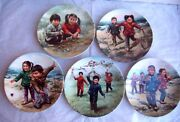 Lot Of 5 - Collectors Plate Chinese Childrenandrsquos Game Series Plate By Kee Fung Ng