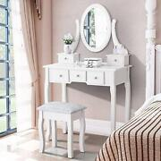 Makeup Dressing Table Set Oval Mirror Cushioned Stool Drawers Wood Antique Style