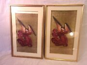 Assembled Pair Gold Leaf Over Pine Frames 15x24 Hold 14x22 1/2 Molding 3/4
