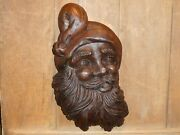 Antique Wood Santa Clause Old Early Primitive Folk Art Carved Rare Carving Mold