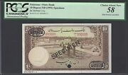 Pakistan 10 Rupees Nd1951 P13s Specimen Tdlr About Uncirculated