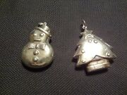 Vintage Sterling Silver Puff Christmas Tree And Puff Snowman Pendants--very Old St