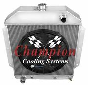 4 Row Bc Champion Radiator W/ 16 Fan For 1949 - 1953 Ford Cars Ford V8 Engine