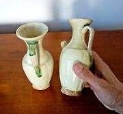 Scarce Antique Chinese Museum Quality Two Pottery Vases Excellent Condition