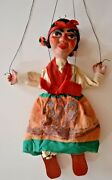 Vintage Marionette String Puppet Spanish Lady Senorita Clay/ Composition Face