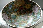 Massive/large 14 Inch Vintage Flowered Chinese Porcelain Bowl With Wood Stand