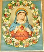 Sacred Heart Of Mary Antique Catholic Holy Picture Oil Print Panels Jesus 16inch