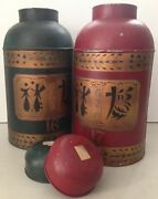 Pair Of Large Antique Chinese Tin Tea Canisters For Decor Or Lamps Gr And Red