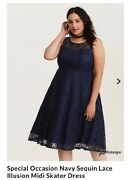 Nwt Torrid 108 Special Occasion Navy Sequin Lace Illusion Midi Skater Dress 10