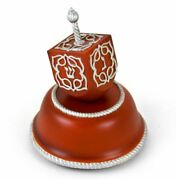 Festive Musical Dreidel With Silver Accents On Wooden Base - Over 400 Song