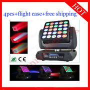 2512w Rgbw 4 In 1 Matrix Led Moving Head Wash Stage Dj Light 4pcs With Case