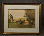 19th Century Landscape Signed Paul Emile Lecomte, Watercolor On Paper French