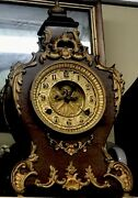 Antique 1800and039s Waterbury Cast Iron Mantle And Wall Clock Model Louis French Rare