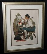 1970s Us Lithograph Print 186/200 Ye Pipe And Bowl Signed Norman Rockwell Hoe