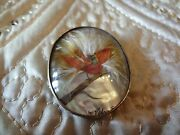 Vintage Costume Bird Pin--very Old And Signed On Front--rare Find--beautiful -