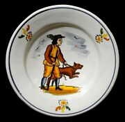 Late 18th-early 19th C Antique French Quimper Hand Dec. Figurative Ceramic Bowl