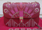 New 3645 Valentino Red Love Blade Shoulder Bag Leather Hearts Embroidered Stud