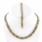 Tri Tone Hugs And Kisses Necklace Bracelet Set Stampato Stainless Steel 18 Sb Xo