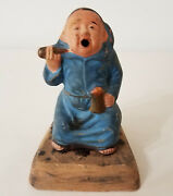 Sm. Japanese Pottery Monk W/cigar And Beer Mug Singing Open Mouthed -- Unusual