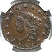 1822 N-11 R-3 Ngc Xf 45 Matron Or Coronet Head Large Cent Coin 1c
