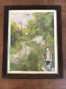 Antique Wwi Original Framed Painting Collage 12.5 X 15.5