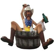 Cowboy Life Size Statue Bathing With Rubber Duck Figurine Western Prop Theme