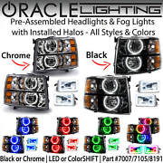Oracle Round Halo Headlights And Fog Lights For 07-13 Chevrolet Silverado Colors