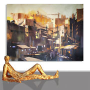 Painting Abstract Large City Canvas Art Brown Artwork Interior Design // 78 X 55