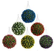 Best Artificial Tulip Flower Ball Long Grass Leaf Topiary Hanging Basket Plant
