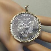 9ct Gold New Celtic Pendant With One Oz Fine Silver Eagle Coin
