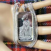 New Sterling Silver Dia / Cut Bullion Pendant With 1oz Fine Silver Ingot And Chain