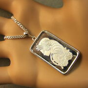 New Sterling Silver Lady Luck Bullion Pendant With 10g Fine Silver Bar And Chain
