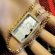 9ct Gold New Bullion Bar Lady Luck Pendant With 10g Fine Silver Ingot And Chain