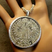 New Sterling Silver Bullion Diamond Cut Pendant And Chain With Austrian Coin