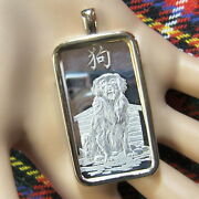 9ct Gold New Bullion Dog Pendant With One Ounce Fine Silver Ingot