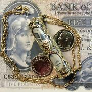 9ct Gold Genuine Old Bank Of Scotland England And Ireland Note In Pendant And Chain
