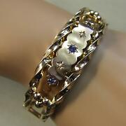 9 Ct Gold Second Hand Antique Victorian Sapphire And Pearl Bangle