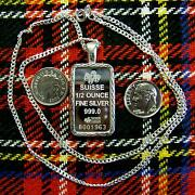 New Sterling Silver Lady Luck Bullion Pendant With 1/2oz Fine Silver Bar And Chain